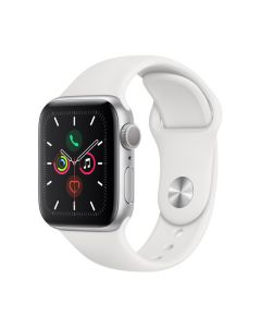 Apple Watch Series 5 40mm Silver Aluminium, White Sport Band MWV62LL/A