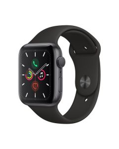 Apple Watch Series 5 44mm Space Gray Aluminum, Black Sport Band MWVF2LL/A